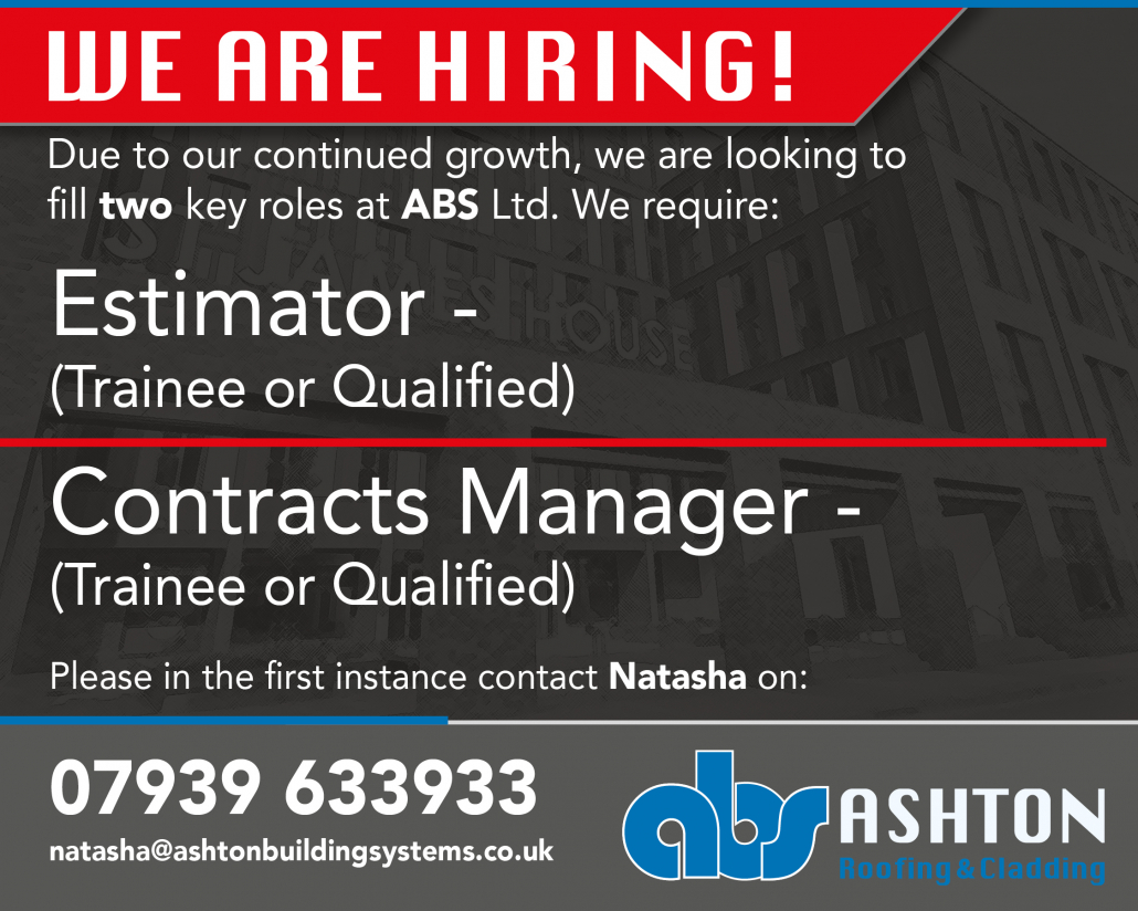 Ashton Building Systems Roofing Estimator trainee + Contracts Manager Advert